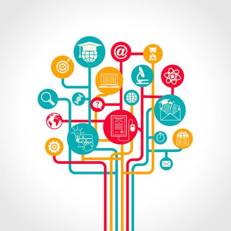 investigando: Concepto en l�nea de �rbol de la educaci�n con recursos de formaci�n e-learning iconos ilustraci�n vectorial