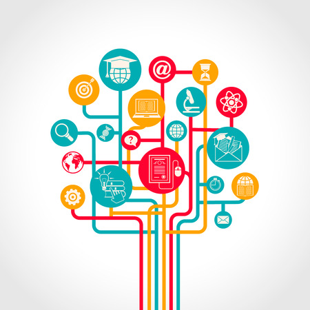 e learn: Online education tree concept with e-learning training resources icons vector illustration