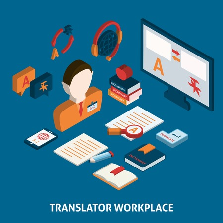 Translator workplace isometric icons composition with computer dictionaries and mobile electronic devices  poster print isolated vector illustration Illustration