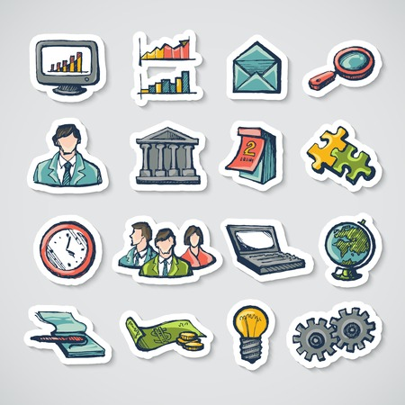Business stickers set with charts globe computer puzzle isolated vector illustration Vector