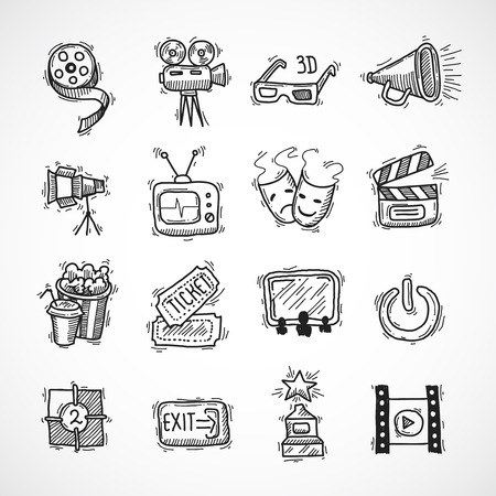 Cinema icons hand drawn set with film strip clapperboard ticket isolated vector illustration