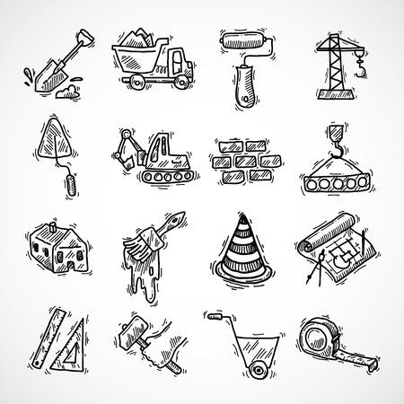 esquisse de construction icônes décoratives définies avec camion-grue marteau isolé illustration vectorielle Vecteurs