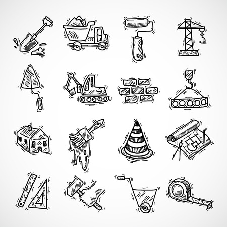 Construction sketch decorative icons set with crane truck hammer isolated vector illustration Illustration