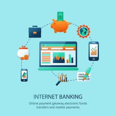 traslados: Cartel de banca por Internet con fondos electr�nicos de pago m�vil en l�nea transfiere ilustraci�n vectorial s�mbolos