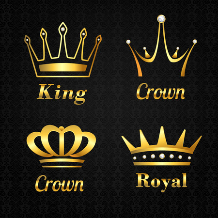 Golden heraldry kings and queen royal crowns set on black background vector illustration Иллюстрация
