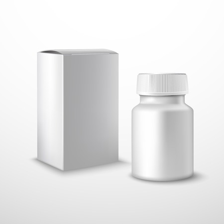 medicine box: Blank medicine bottle with medical supplements realistic isolated on white background vector illustration