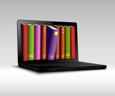 ノートブックのベクトル図の 3 d のリアルな本の棚とデジタル ライブラリの概念