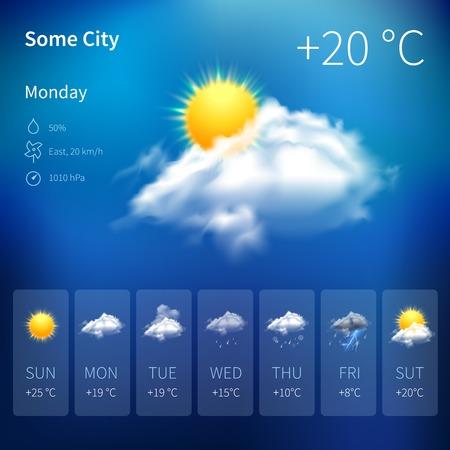 clima: Widget de pronóstico del tiempo realista aplicación móvil ilustración plantilla de diseño de programa de vectores