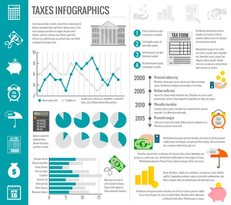 refund: Government tax money finance cut paying reducing symbols infographics set with charts vector illustration Illustration