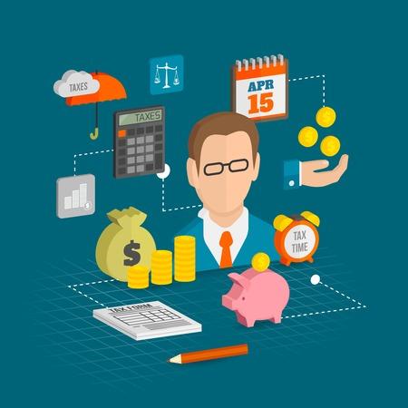Fiscales icônes décoratifs isométrique réglés avec finance argent éléments d'épargne personnelle illustration vectorielle Banque d'images - 34315218