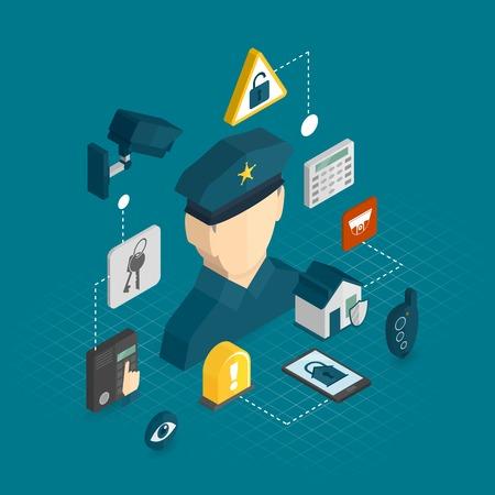 guardia de seguridad: Seguridad en el hogar concepto de protecci�n de la casa inteligente con iconos decorativos isom�tricos establecer ilustraci�n vectorial