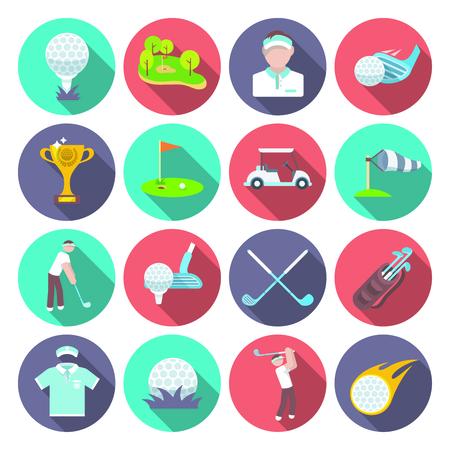 スポーツ在庫トーナメント プレーヤー分離ベクトル イラスト ゴルフ クラブ アイコン セットします。