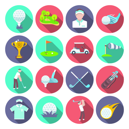 inventory: Golf club icons set set with sport inventory tournament player isolated vector illustration