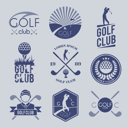 golf stick: Golf club sport game competition black and white label set isolated vector illustration