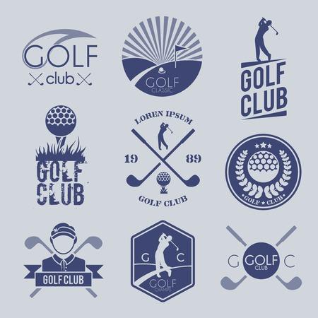 Golfclub sport spel concurrentie zwart en wit label set geïsoleerd vector illustratie