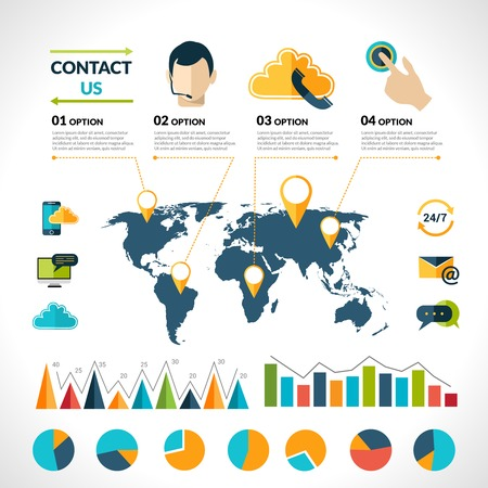 contact person: Contact us phone customer service user support call infographics set with charts and world map vector illustration