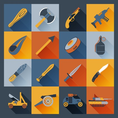 Weapon icons flat set  with axe dagger tank  cannon isolated vector illustration Vector