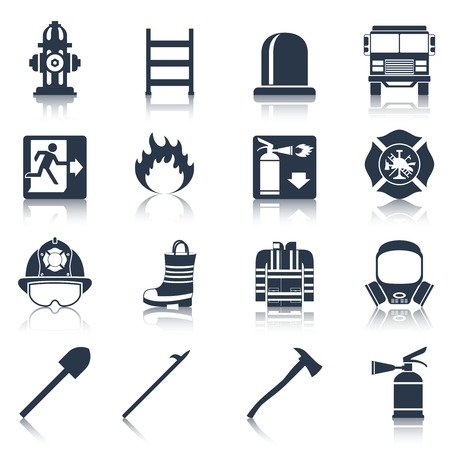 departments: Firefighter black icons set with flame extinguisher emergency siren isolated vector illustration