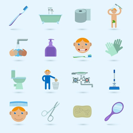 Hygiene cleaning washing bathroom icons set with male figure isolated vector illustration Vector