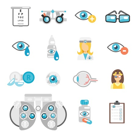 exam: Oculist flat icons set with eye glasses lenses eyeball isolated vector illustration