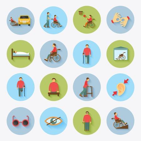 無効になっている視覚障害者や聴覚障害者の人々 気に役立つ支援とアクセシビリティ フラット アイコン設定分離ベクトル イラスト  イラスト・ベクター素材