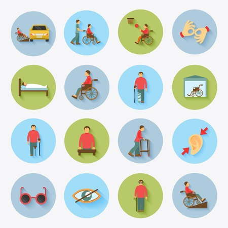 Disabled blind and deaf people care help assistance and accessibility flat icons set isolated vector illustration
