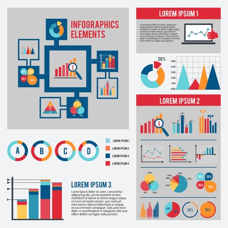 bar graph: Business data financial report infographics elements set with dot bar pie charts diagrams and graphs isolated vector illustration