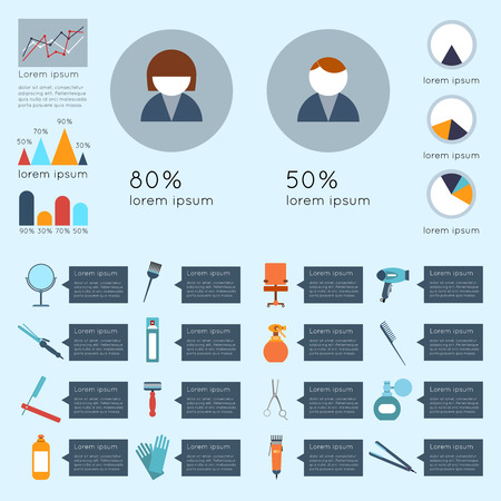 hairstylist: Hairdresser infographic set with charts beauty haircut accessories and equipment vector illustration