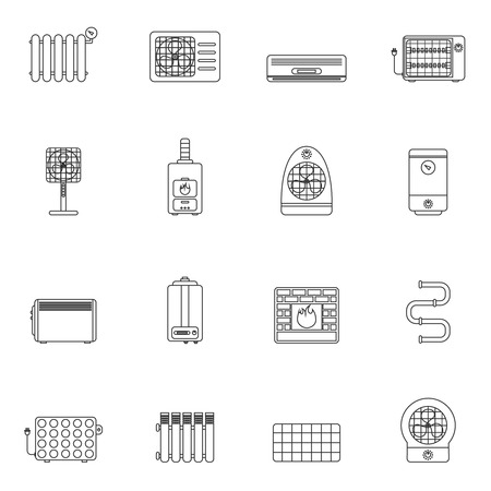 furnace: Heating and cooling system air conditioning equipment outline icon set isolated vector illustration.