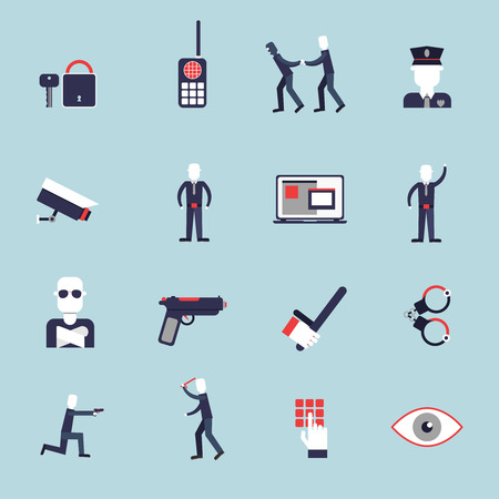 Security guard flat icons set with surveillance camera handcuffs guard isolated vector illustration Vector
