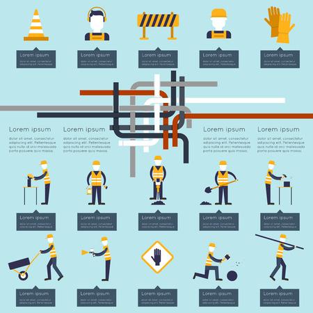 tools construction: Road worker industrial builders and contractors infographics set vector illustration