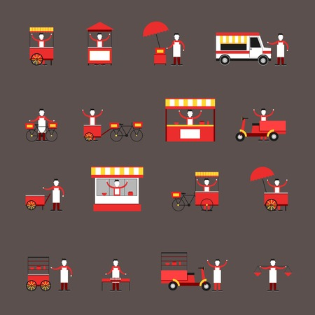stall: Street fast food icon flat set with people delivery truck cart isolated vector illustration