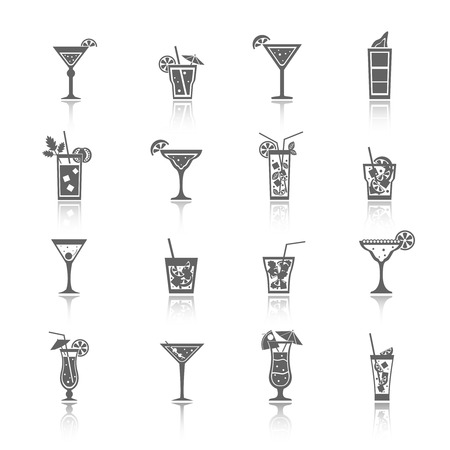Alcohol cocktails icons black set with blue lagoon manhattan tequila sunrise isolated vector illustration. Иллюстрация