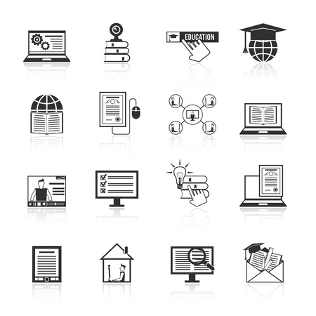 exam: Online education e-learning knowledge resources icons black set isolated vector illustration