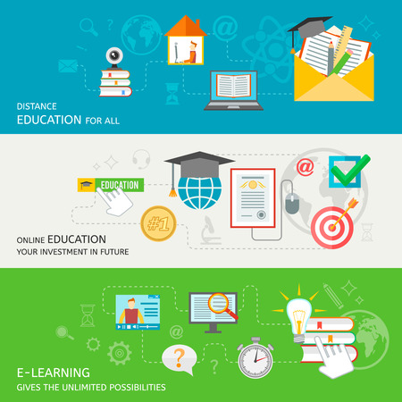 tutorials: Online education banner set with distance e-learning elements isolated vector illustration Illustration