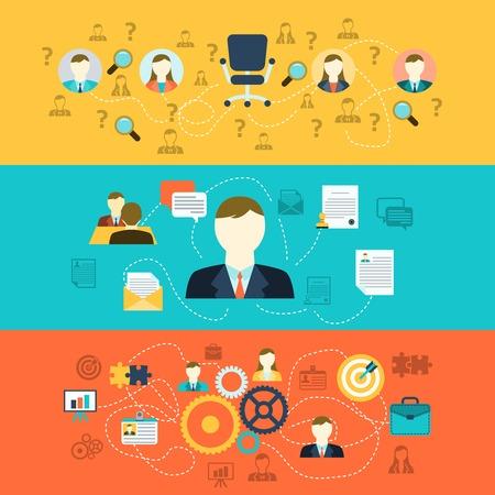 Los recursos humanos de selección de personal de entrevista entrenamiento de reclutamiento y la integración de los solicitantes de banners horizontales conjunto abstracto ilustración vectorial plana