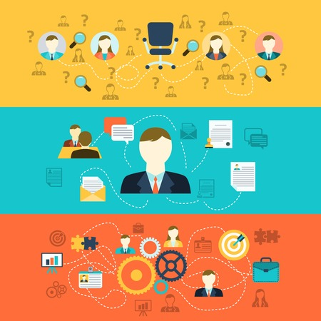 Human resources personnel selection interviewing recruiting training and integrating applicants horizontal banners set abstract flat vector illustration Stock Illustratie