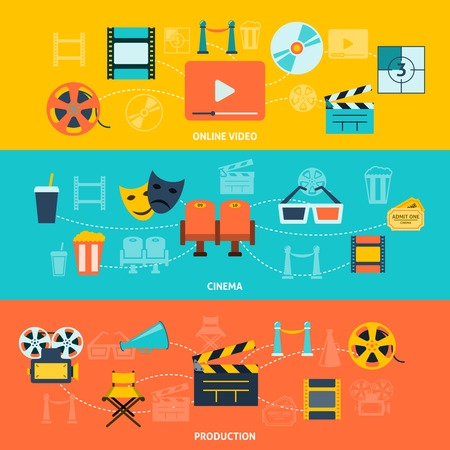 cinematograph: Cinema movie premiere tickets video online film production retro symbols  horizontal banners set abstract flat vector illustration Illustration