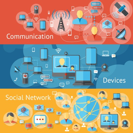 tv news: Communication line banners set with social network devices elements isolated vector illustration