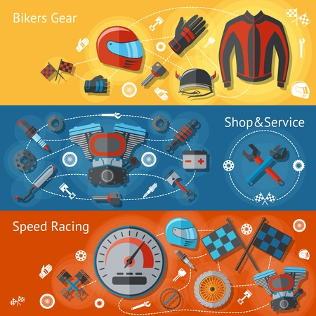 spares: Motorcycle parts flat banners set with bikers gear shop service speed racing isolated vector illustration