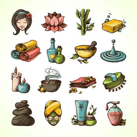 massage therapie: Spa Massage Therapie Wellness Schets Gekleurde decoratieve Icons Set Vector Illustratie Stock Illustratie