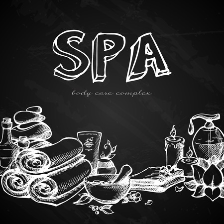 massage therapie: Spa Massage Therapie Natural Health Care Concept schoolbord achtergrond vector illustratie