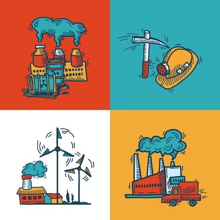 mining ship: Industrial colored sketch flat icons design set with plants mining energy and transportation symbols isolated vector illustration