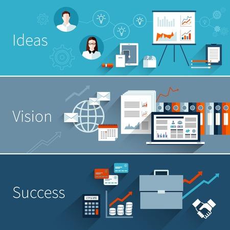 gestion: Bandera plana de negocios establecido con éxito aislado visión ideas ilustración vectorial