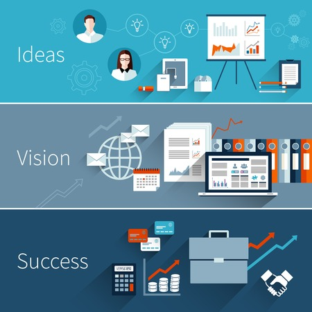 management process: Business flat banner set with ideas vision success isolated vector illustration