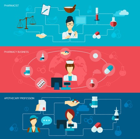 apothecary: Pharmacist flat banner set with pharmacy business apothecary profession isolated vector illustration Illustration
