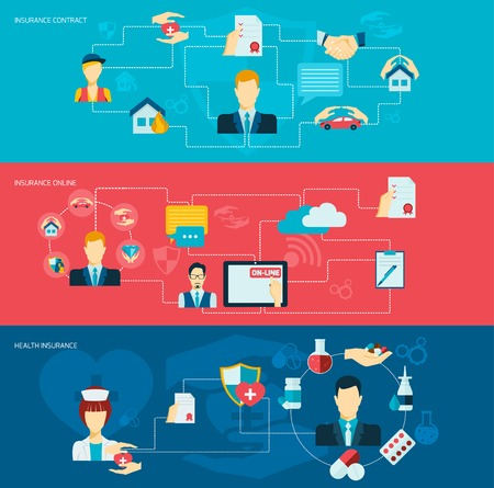 Insurance banner flat set with contract property online health care symbols isolated vector illustration