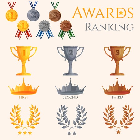 Ranking icons set of different size awards crowns and medals isolated vector illustration