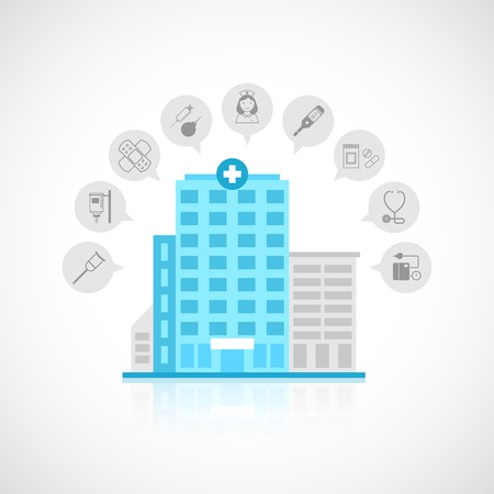 hospital care: Medical flat building with emergency center clinic hospital and doctor avatars decorative icons set vector illustration