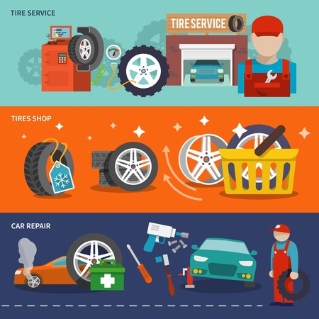 tire shop: Tire service flat banner set with shop car repair mechanic isolated vector illustration